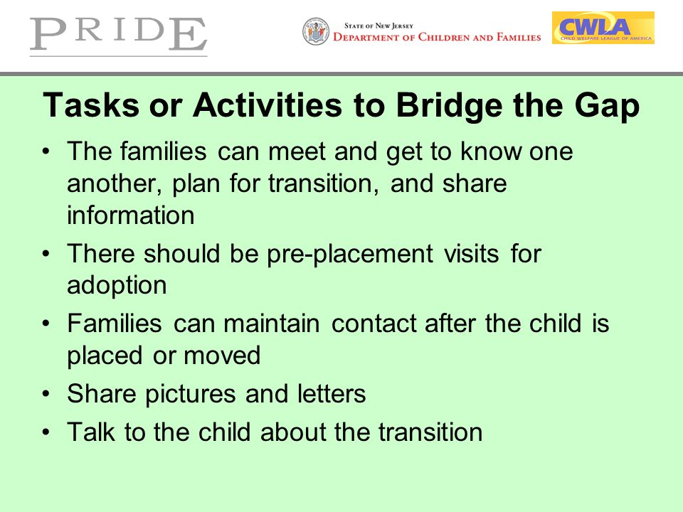 Tasks or Activities to Bridge the Gap