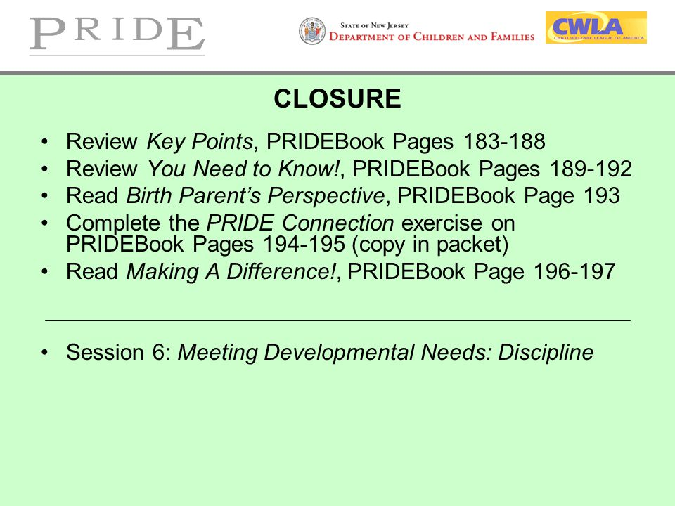CLOSURE Review Key Points, PRIDEBook Pages 183-188