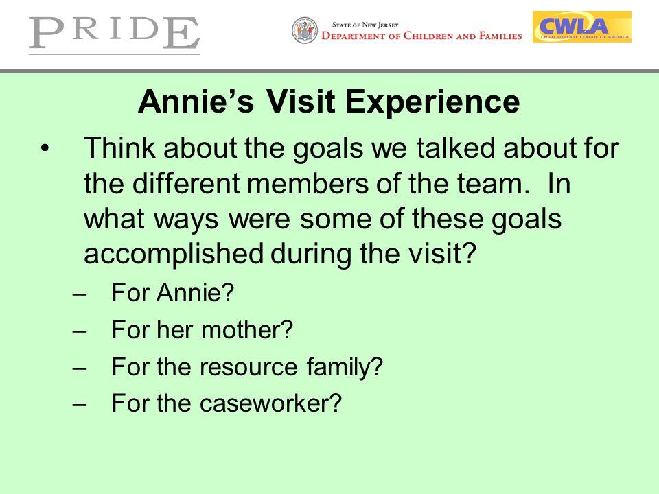 Annie's Visit Experience