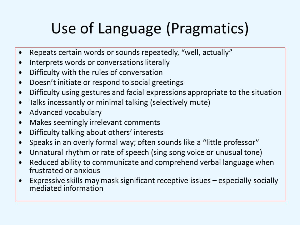 Use of Language (Pragmatics)
