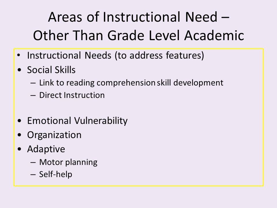 Areas of Instructional Need – Other Than Grade Level Academic