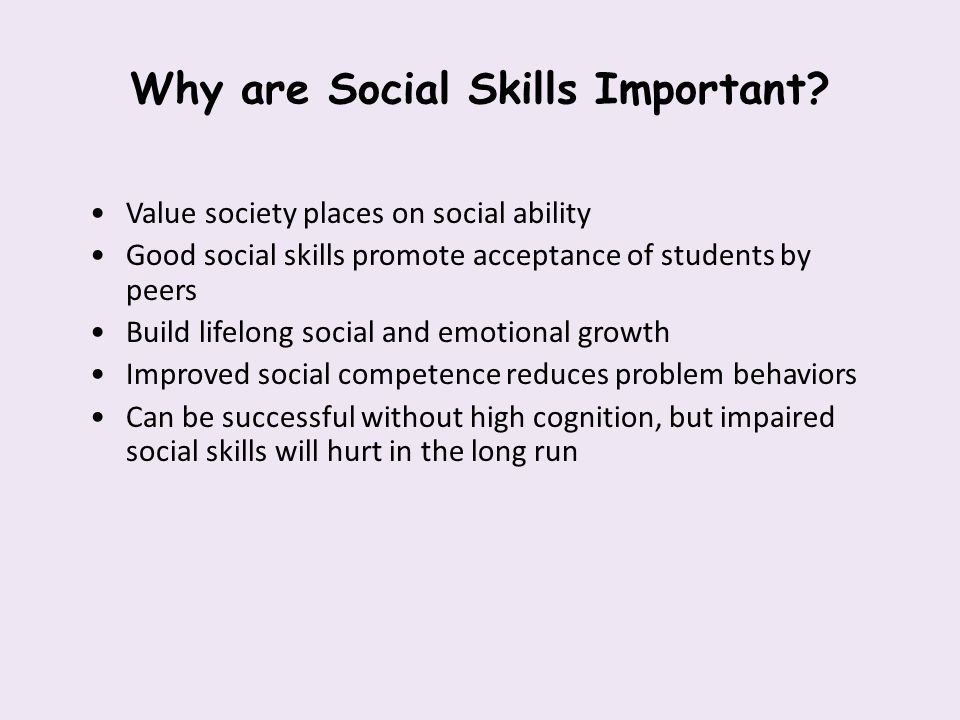Why are Social Skills Important