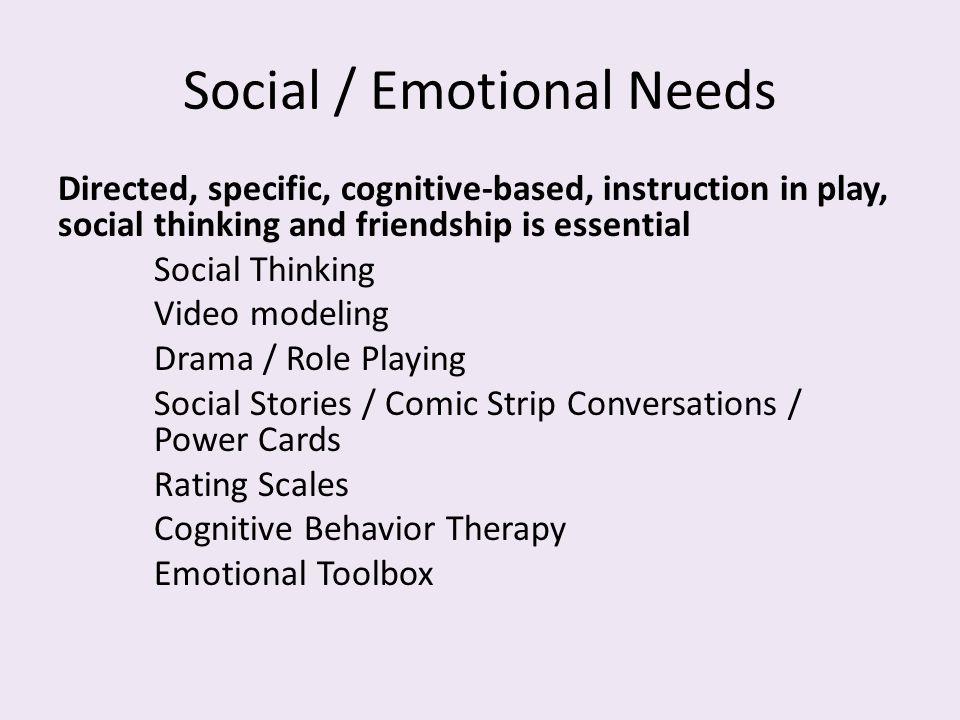 Social / Emotional Needs