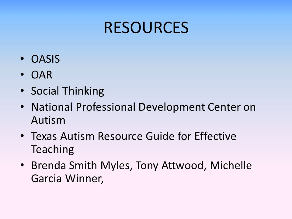 RESOURCES OASIS OAR Social Thinking
