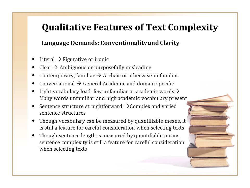 Qualitative Features of Text Complexity