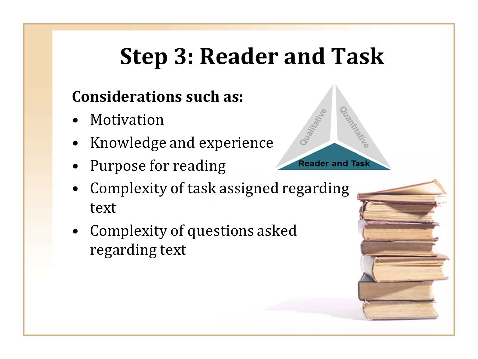 Step 3: Reader and Task Considerations such as: Motivation