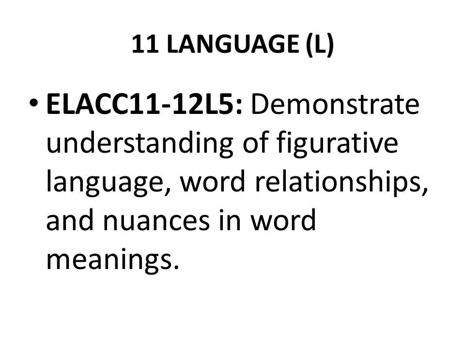 11 LANGUAGE (L) ELACC11-12L5: Demonstrate understanding of figurative language, word relationships, and nuances in word meanings.