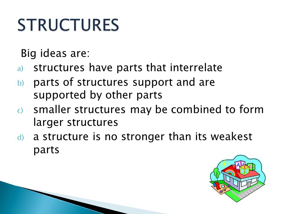 STRUCTURES Big ideas are: structures have parts that interrelate