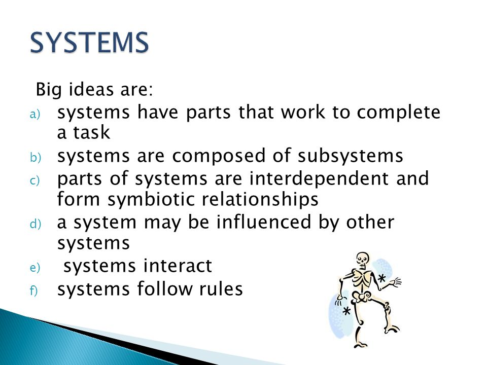 SYSTEMS systems have parts that work to complete a task