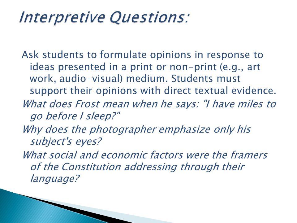 Interpretive Questions: