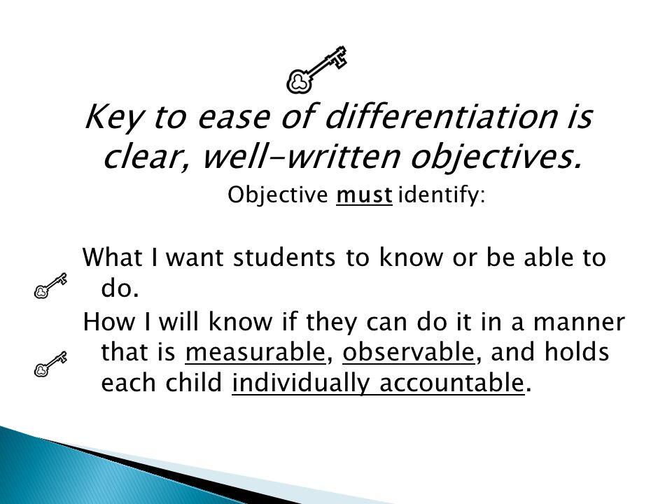 Objective must identify: