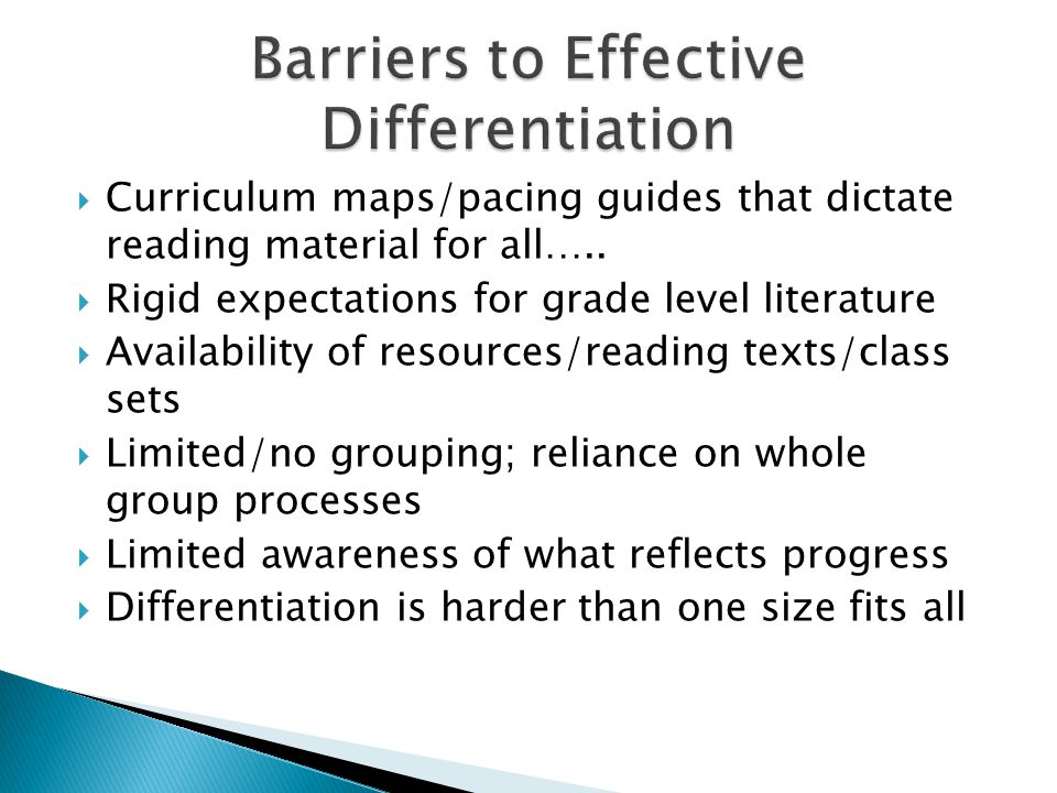 Barriers to Effective Differentiation