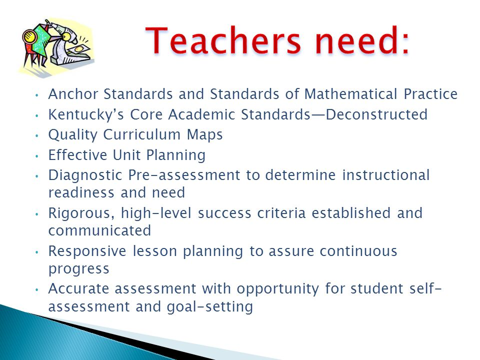 Teachers need: Anchor Standards and Standards of Mathematical Practice