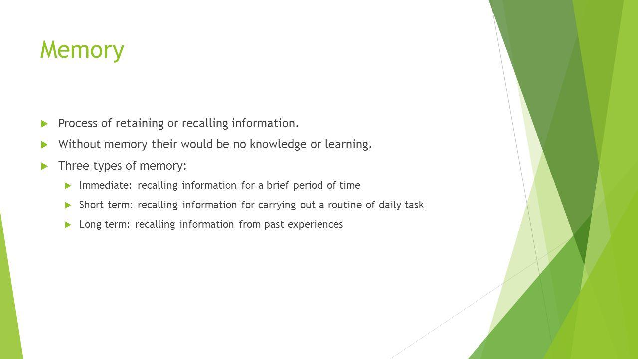 Memory Process of retaining or recalling information.