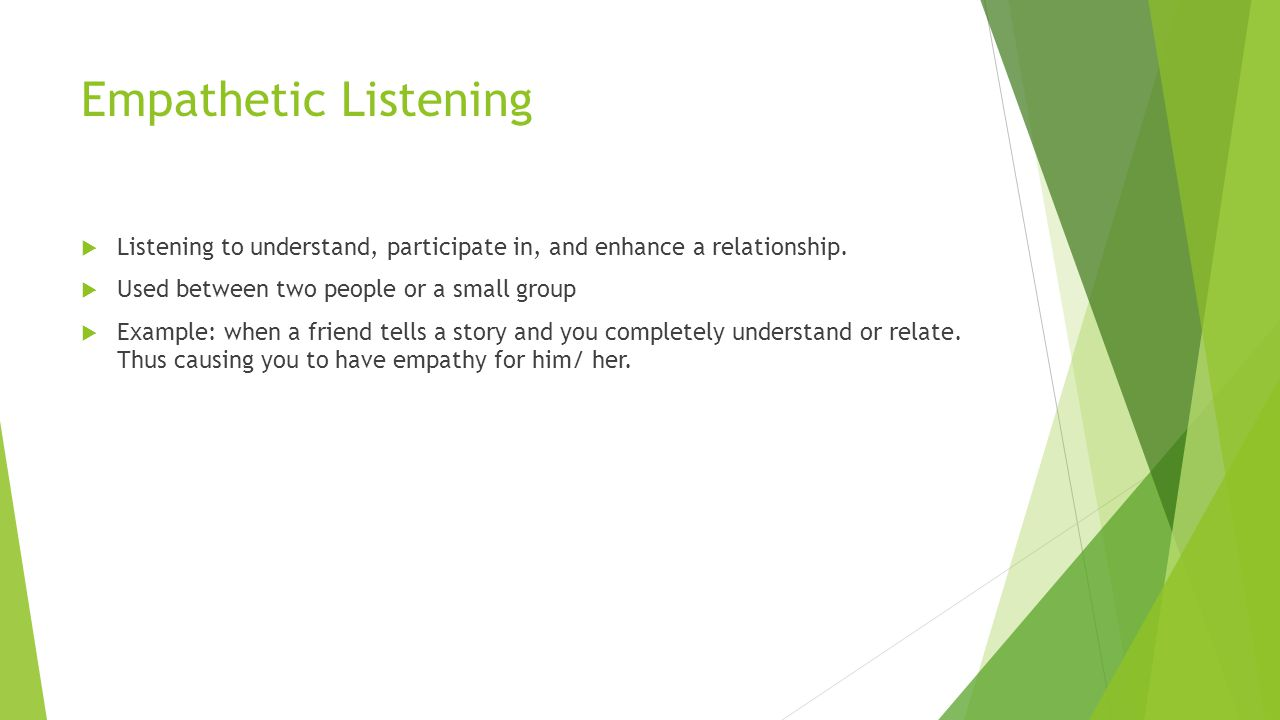 Empathetic Listening Listening to understand, participate in, and enhance a relationship. Used between two people or a small group.