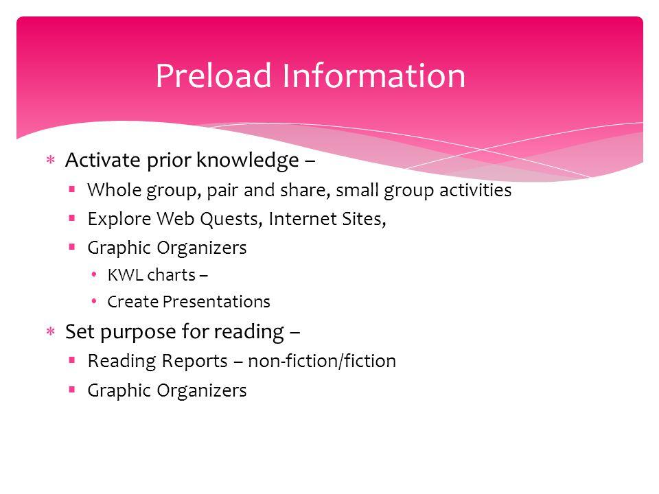 Preload Information Activate prior knowledge –