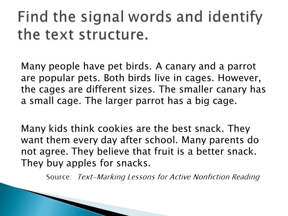 Find the signal words and identify the text structure.