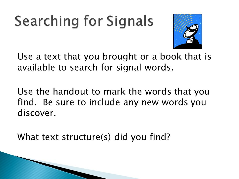 Searching for Signals