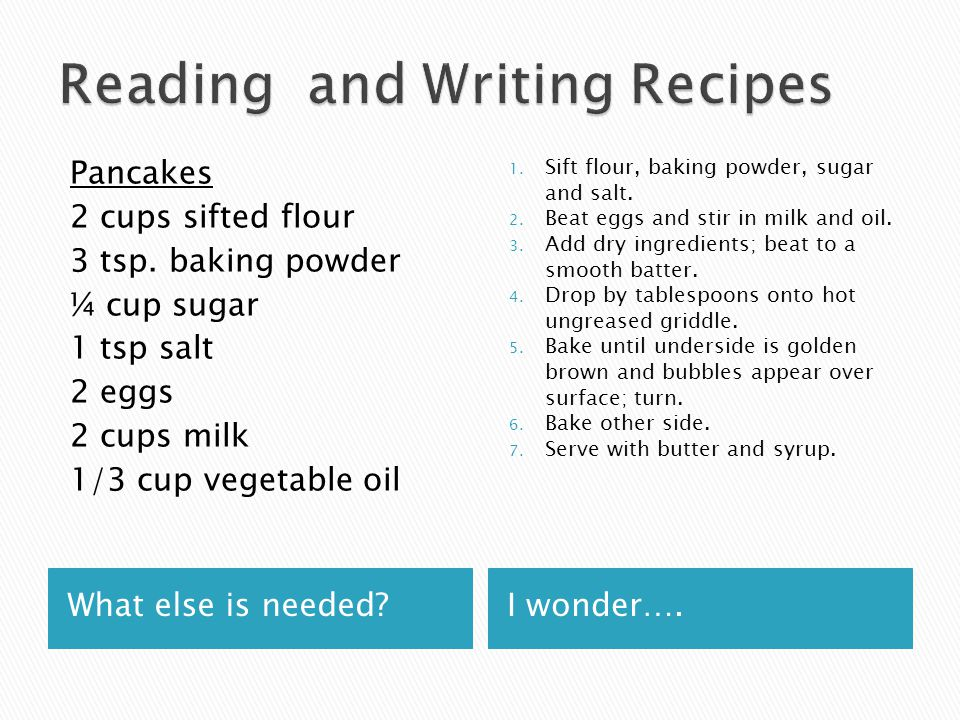 Reading and Writing Recipes