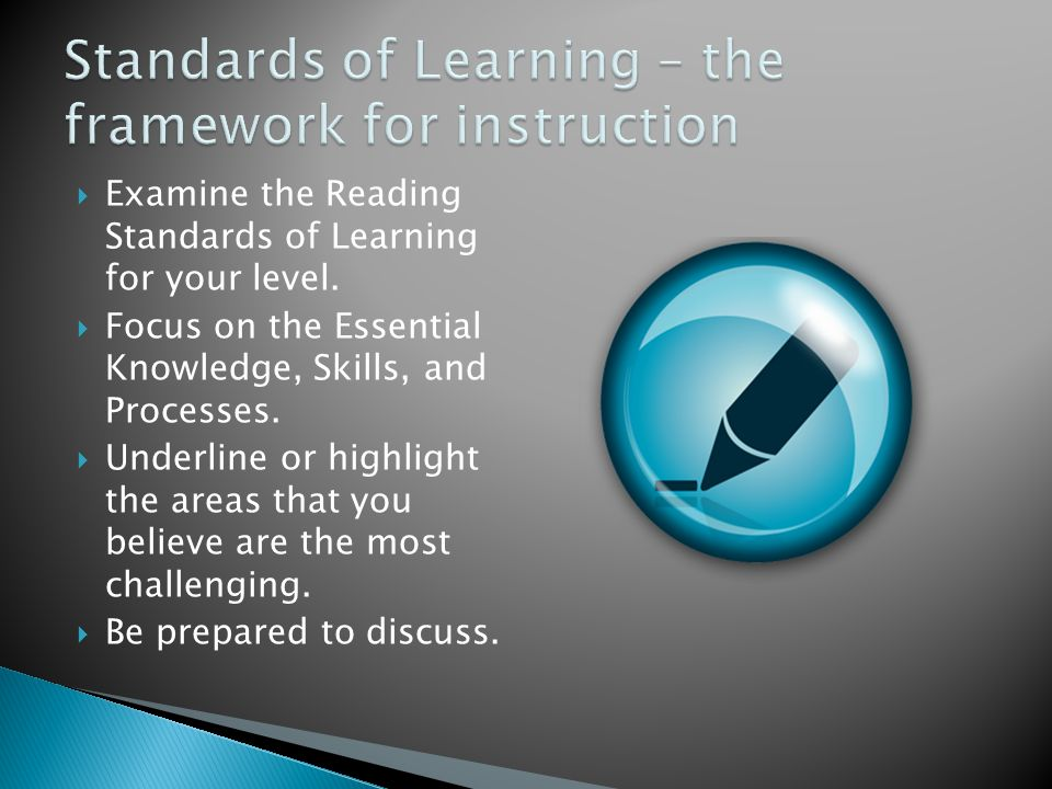 Standards of Learning – the framework for instruction