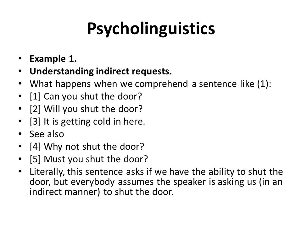 Psycholinguistics Example 1. Understanding indirect requests.