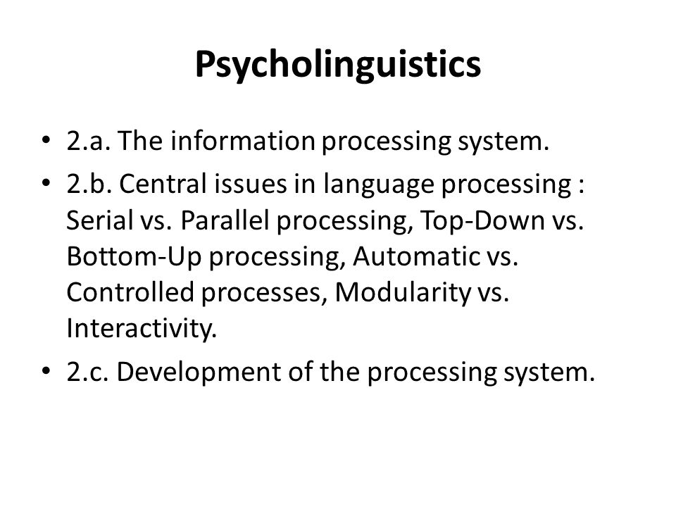Psycholinguistics 2.a. The information processing system.