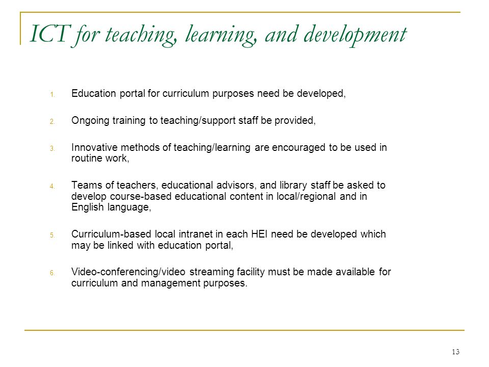 ICT for teaching, learning, and development