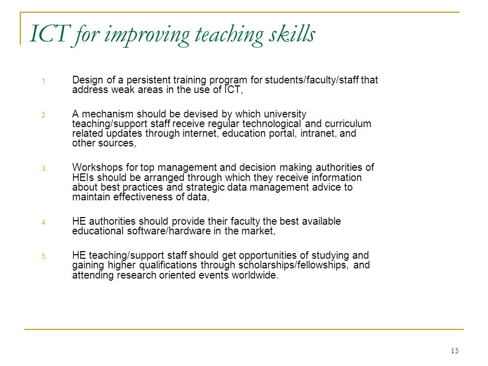 ICT for improving teaching skills