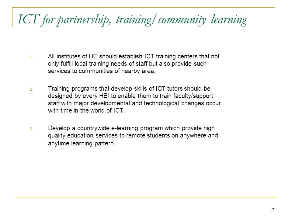 ICT for partnership, training/community learning