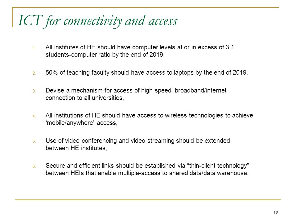 ICT for connectivity and access