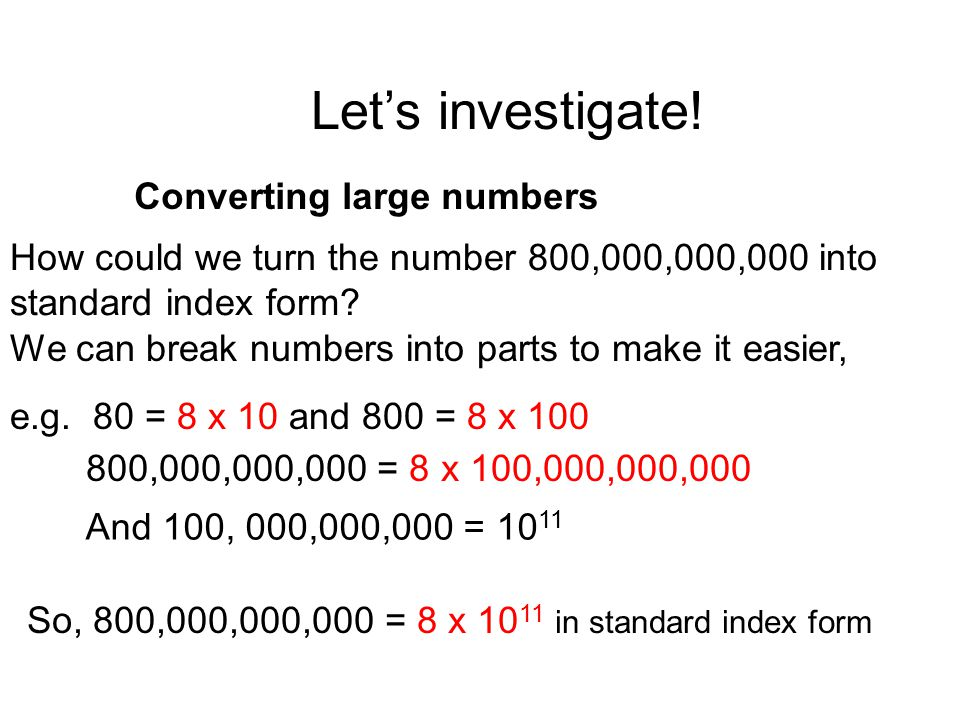 Let's investigate! Converting large numbers