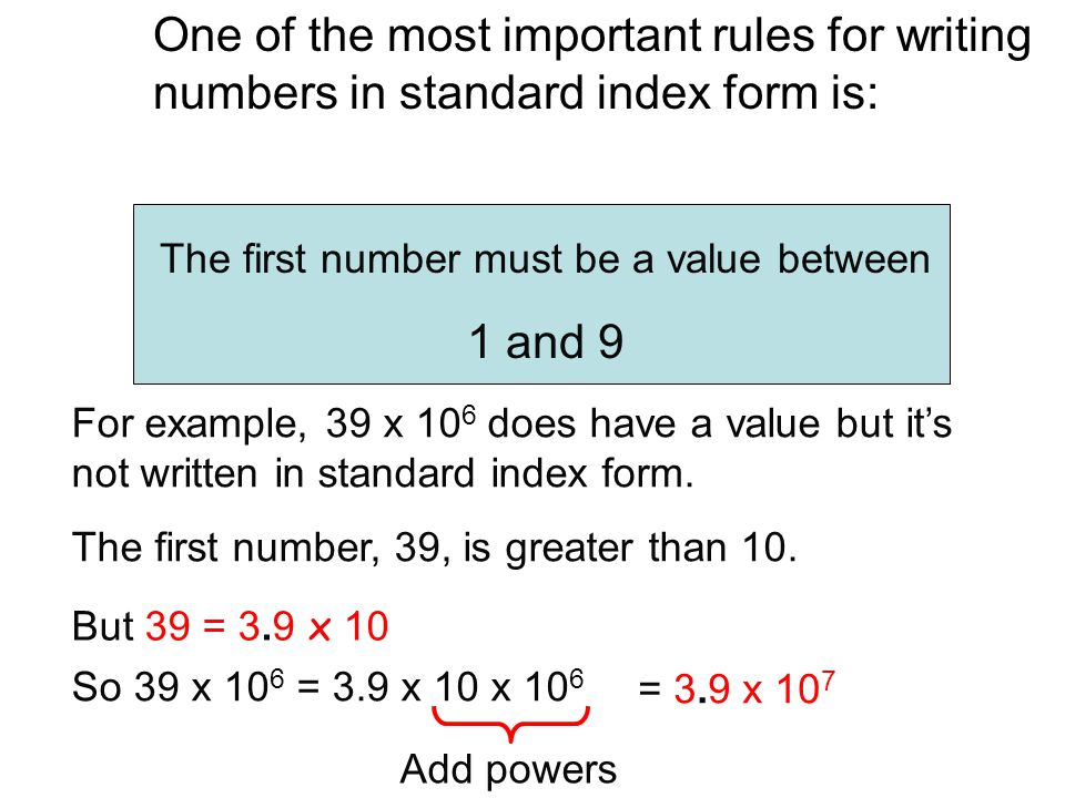 The first number must be a value between