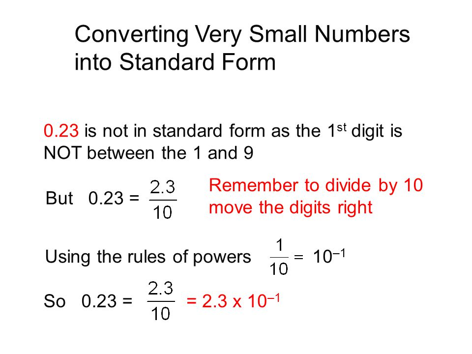Converting Very Small Numbers into Standard Form