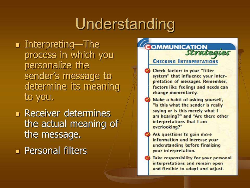 Understanding Interpreting—The process in which you personalize the sender's message to determine its meaning to you.
