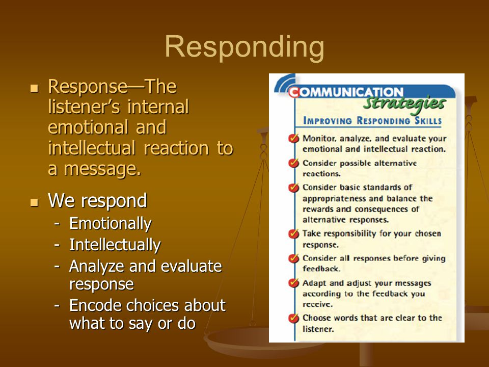 Responding Response—The listener's internal emotional and intellectual reaction to a message. We respond.