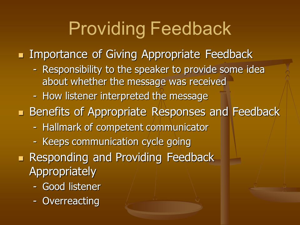 Providing Feedback Importance of Giving Appropriate Feedback