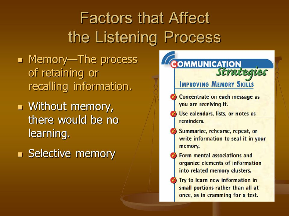 the factors that affect listening essay See the essay on frames, framing the goal of active listening boulder posted: september 2003 essay/misunderstandings.