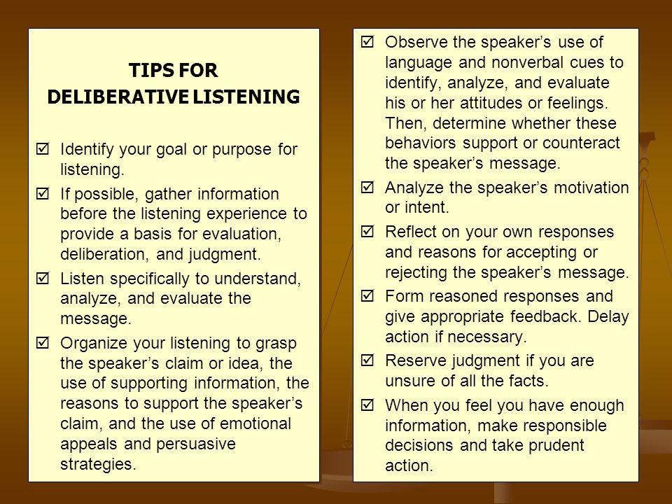 DELIBERATIVE LISTENING