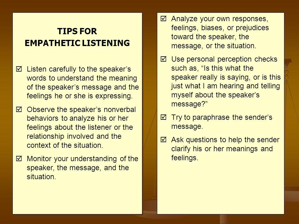 TIPS FOR EMPATHETIC LISTENING