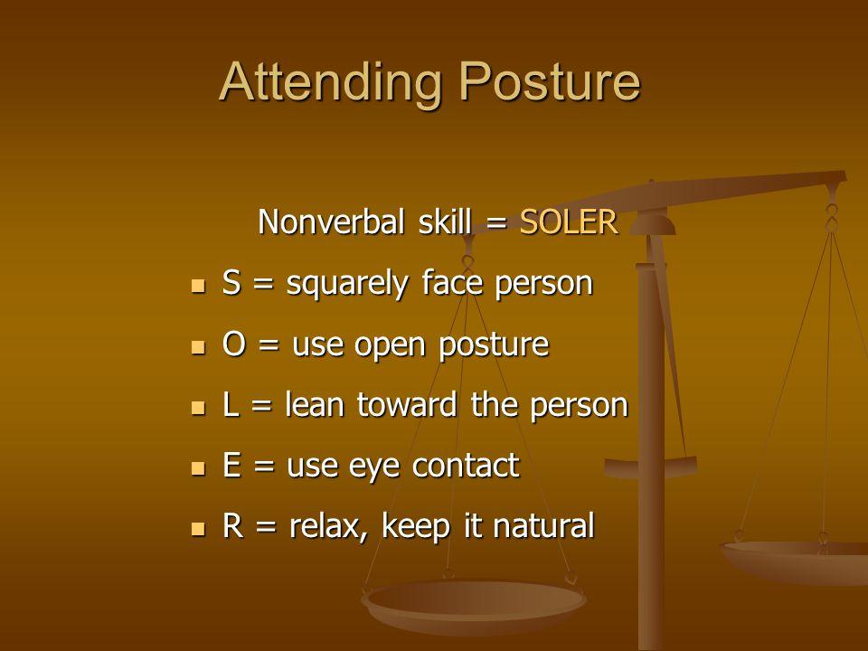 Nonverbal skill = SOLER