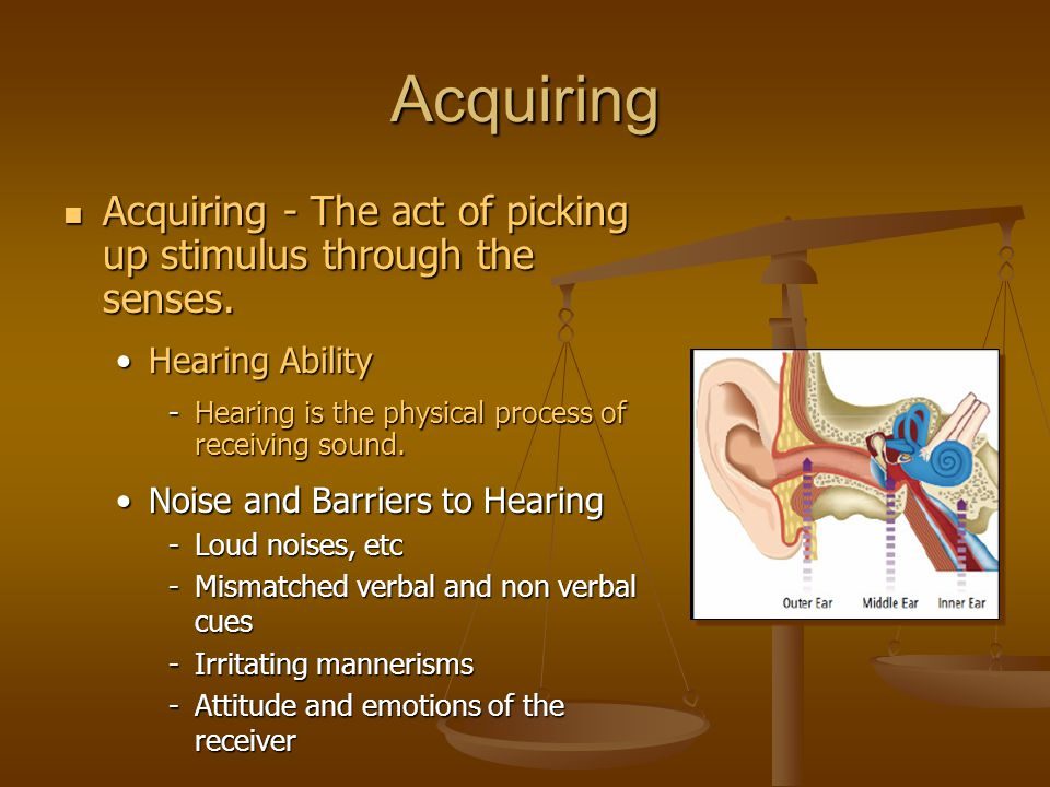 Acquiring Acquiring - The act of picking up stimulus through the senses. Hearing Ability. Hearing is the physical process of receiving sound.