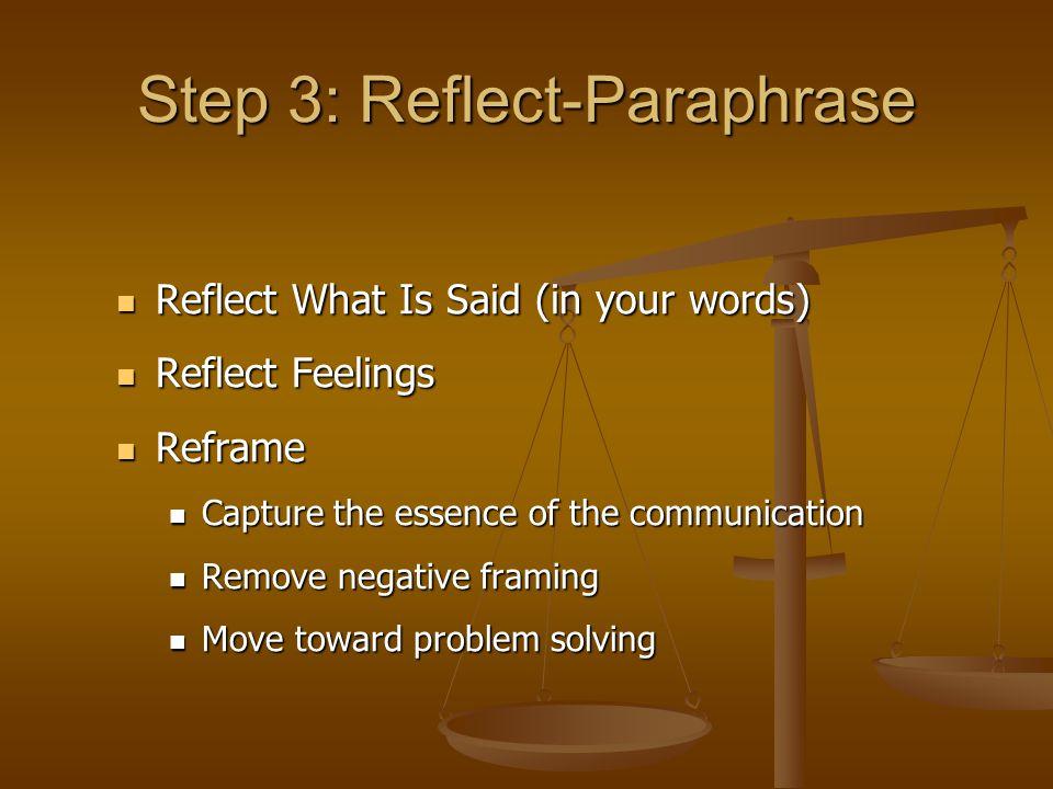 Step 3: Reflect-Paraphrase