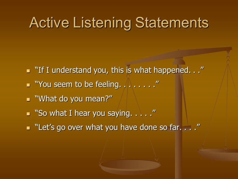 Active Listening Statements