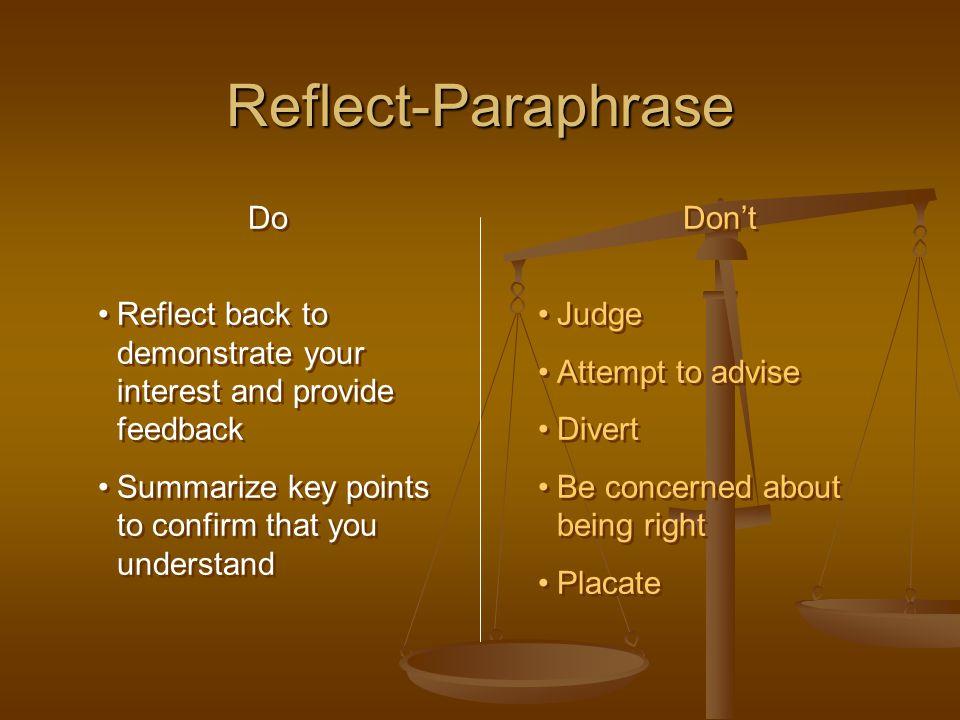 Reflect-Paraphrase Do
