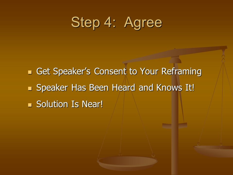 Step 4: Agree Get Speaker's Consent to Your Reframing