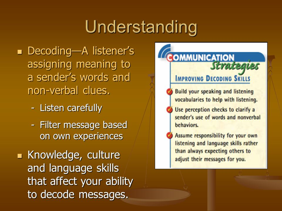 Understanding Decoding—A listener's assigning meaning to a sender's words and non-verbal clues. Listen carefully.
