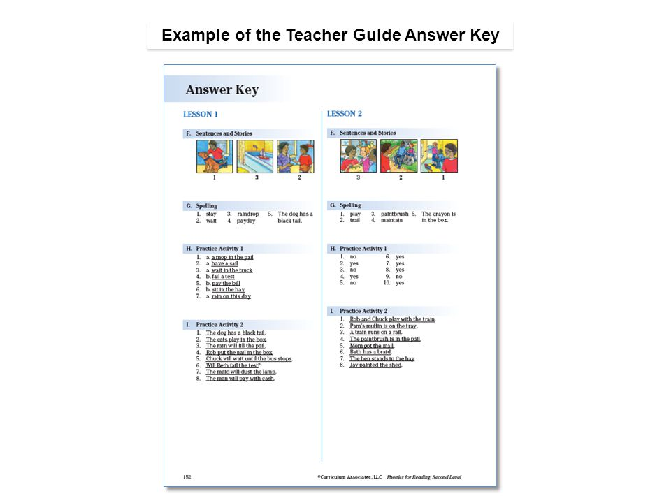 Example of the Teacher Guide Answer Key