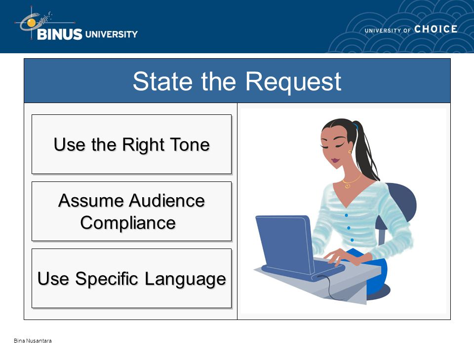 State the Request Use the Right Tone Assume Audience Compliance