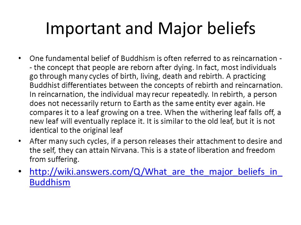 Important and Major beliefs