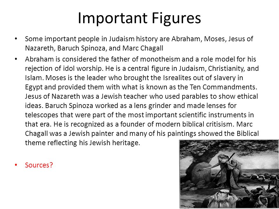 Important Figures Some important people in Judaism history are Abraham, Moses, Jesus of Nazareth, Baruch Spinoza, and Marc Chagall.